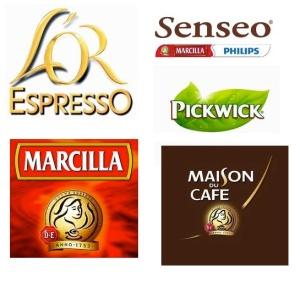 Marcas sara lee, marcilla, senseo, l'or espresso, l'arome espresso,